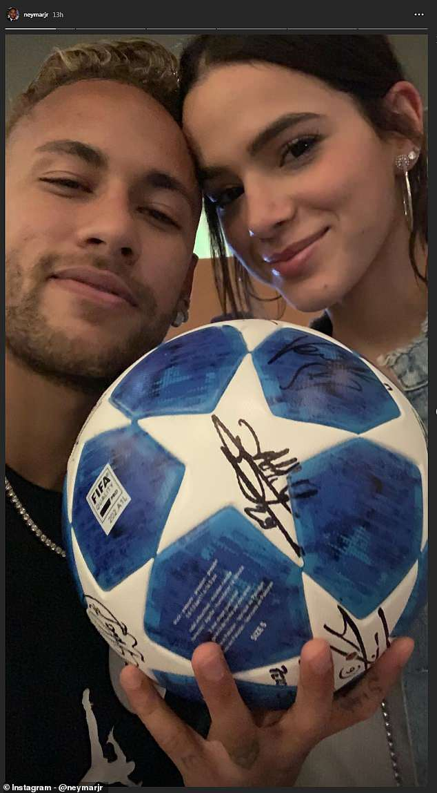Champions League: Neymar poses with hat-trick ball, wife ...