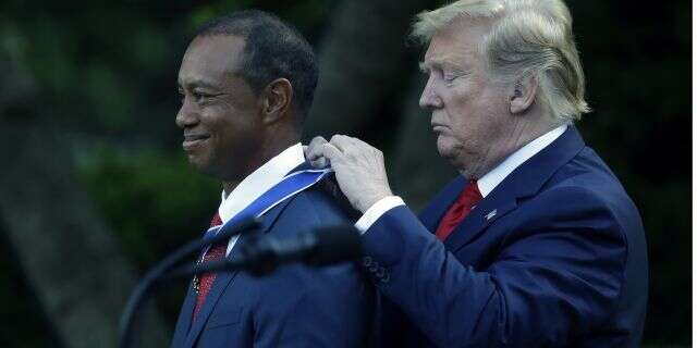 TrumpWoods720 - Trump presents Woods with Presidential Medal
