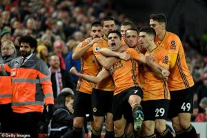 Wolves players wildly celebrate after thinking they had scored only for it to be taken away 300x201 - Ex-Liverpool legend blasts VAR after another controversial decision