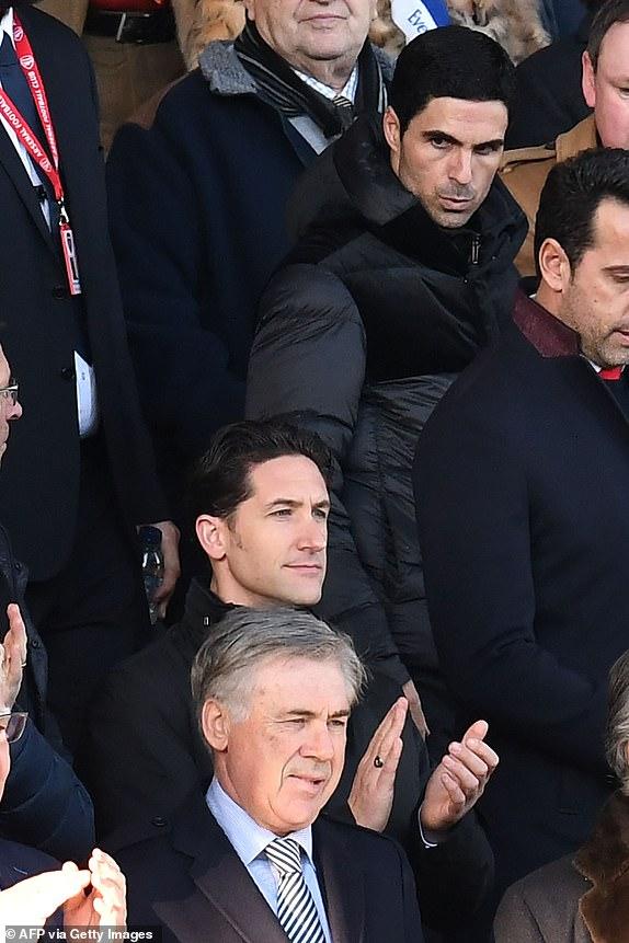ancelotti watching - New boss Ancelotti watches as Everton draw Arsenal