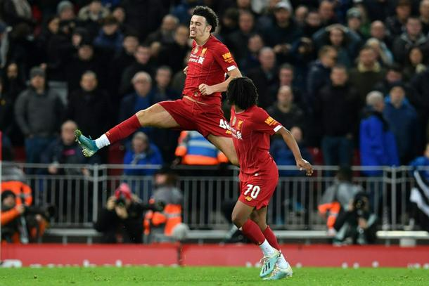Liverpools Curtis Jones L celebrates his superb winner against Everton in the FA Cup - FA Cup: Liverpool sink Everton, Moura rescues Tottenham