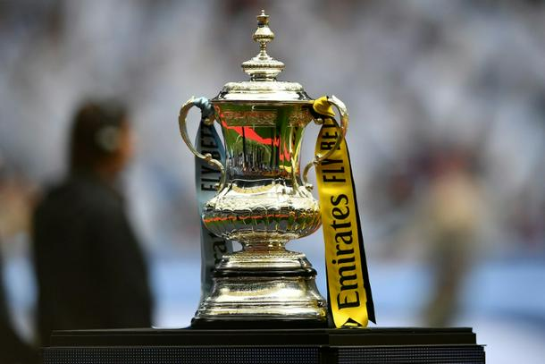 The FA Cup is displayed before the 2019 final between Manchester City and Watford at Wembley - FA to review Cup rights after ties shown on betting website