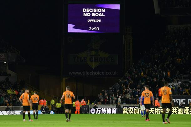 The scoreboard displays the decision disallowing a goal for Wolves against Leicester - EPL: VAR denies Wolves as Leicester's Choudhury sees red