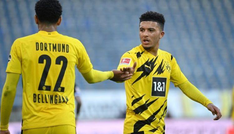 Jadon Sancho with his fellow Englishman Jude Bellingham during Borussia Dortmund's weekend win at Arminia Bielefeld