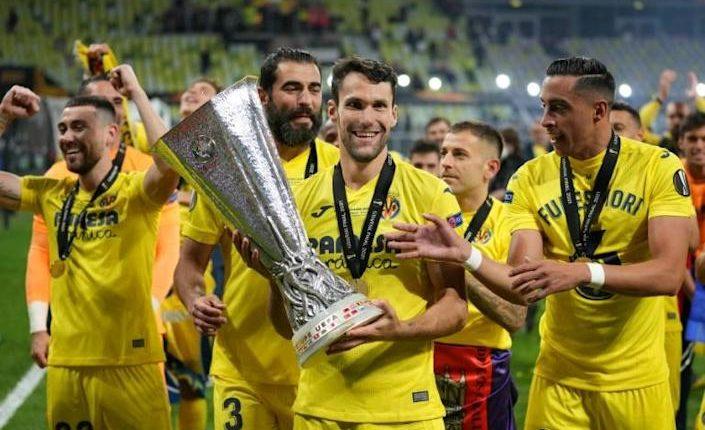 Villarreal celebrate their Europa League victory