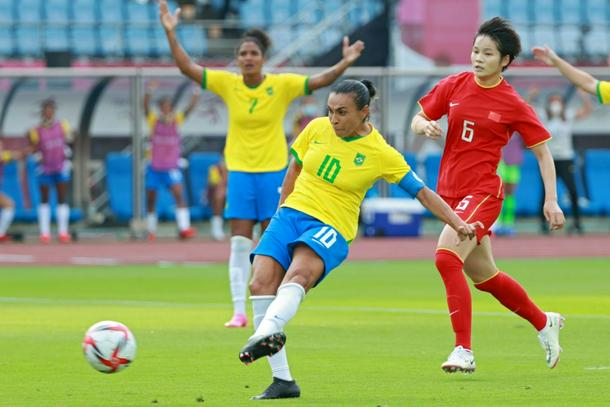 Brazil's Marta scores the opening goal against China in in Miyagi