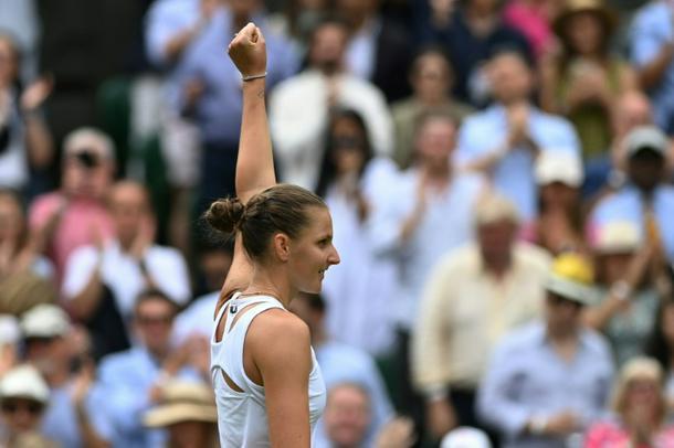 Czech Republic's Karolina Pliskova celebrates her win against Belarus's Aryna Sabalenka