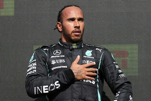 Lewis Hamilton on the podium after the British Grand Prix
