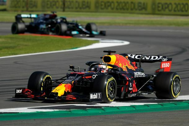 Red Bull's Dutch driver Max Verstappen leads Mercedes' British driver Lewis Hamilton
