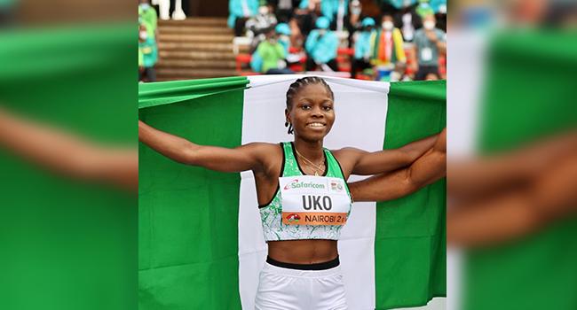 Imaobong Nse Uko flies the Nigerian flag in Nairobi, Kenya.