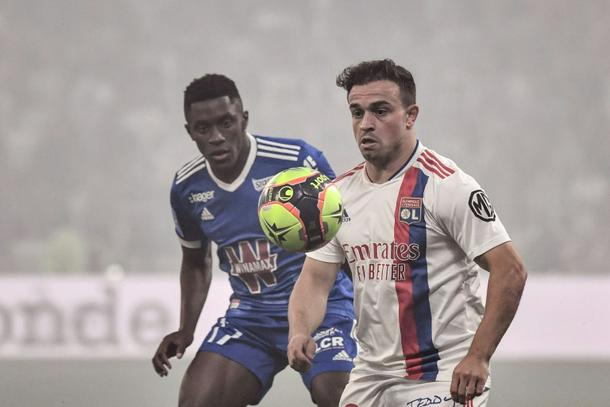 Swiss winger Xherdan Shaqiri (R) made his first appearance for Lyon since joining from Liverpool